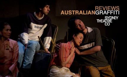 Gabrielle Chan, Mason Phoumirath, Monica Sayers and Kenneth Moraleda in Sydney Theatre Company's Australian Graffiti. Picture: Lisa Tomasetti